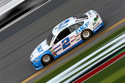Brad Keselowski on track at Daytona International Speedway during practice for the Advance Auto Parts Clash on Feb. 17, 2017 (photo courtesy of Getty Images for NASCAR).