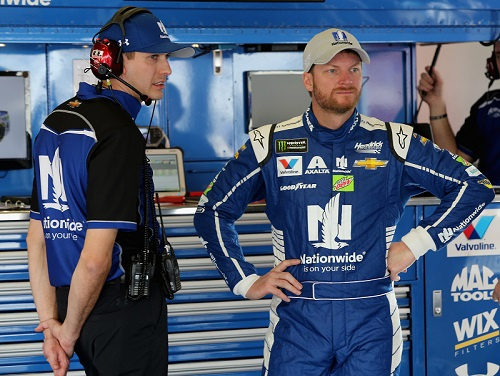 Dale Earnhardt Jr. (right) with a member of his race team in the garage at Daytona International Speedway on Feb. 17, 2017 (photo courtesy of Getty Images for NASCAR).