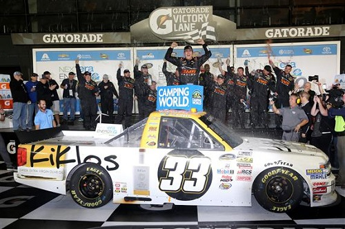 Kaz Grala celebrates in victory lane at Daytona International Speedway after winning the NextEra Energy Resources 250 on Feb. 24, 2017 (photo courtesy of Getty Images for NASCAR).