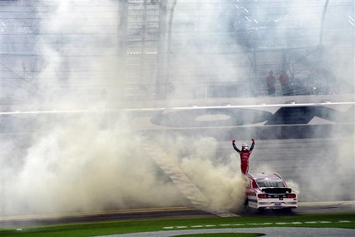 Ryan Reed celebrates winning the PowerShares QQQ 300 at Daytona International Speedway on Feb. 25, 2017 (photo courtesy of Getty Images for NASCAR).