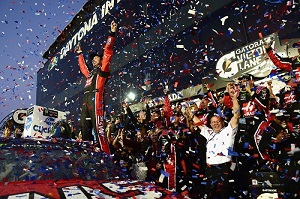 Kurt Busch celebrates in victory lane at Daytona International Speedway after winning the Daytona 500 on Feb. 26, 2017 (photo courtesy of Getty Images for NASCAR).