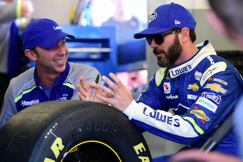 Reigning NASCAR Cup Series champion Jimmie Johnson (right) with crew chief Chad Knaus (photo courtesy of Getty Images for NASCAR)