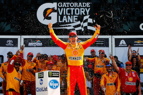 Joey Logano celebrates in victory lane at Daytona International Speedway after winning the Advance Auto Parts Clash on Feb. 19, 2017 (photo courtesy of Getty Images for NASCAR).