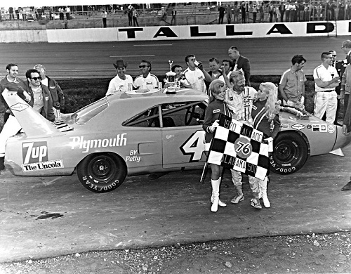 Pete Hamilton celebrates a win at Talladega Superspeedway in 1970 (photo courtesy of Racing One).