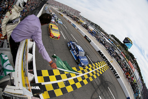 The Monster Energy NASCAR Cup Series takes the green flag at Martinsville Speedway in Oct. 2016 (photo courtesy of Getty Images for NASCAR)