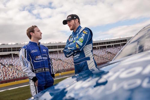 Mark Zuckerberg (left) with Dale Earnhardt Jr. (photo courtesy of Mark Zuckerberg via Facebook)