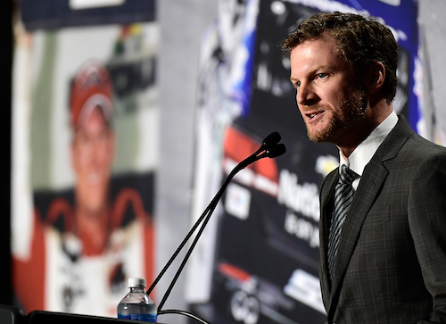 Dale Earnhardt Jr. announces his retirement from Monster Energy NASCAR Cup Series competition (effective at the end of the 2017 season) during a press conference at Hendrick Motorsports on April 25, 2017 (photo courtesy of Getty Images for NASCAR).