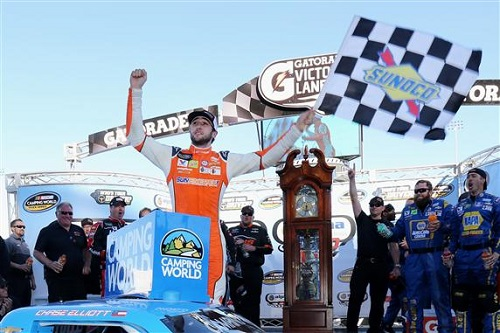 Chase Elliott in victory lane at Martinsville Speedway after winning the Alpha Energy Solutions 250 on April 1, 2017 (photo courtesy of Getty Images for NASCAR).