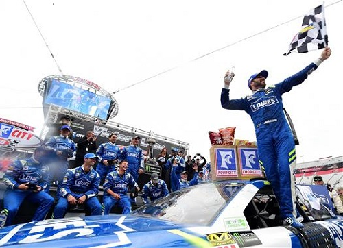 Jimmie Johnson celebrates in victory lane at Bristol Motor Speedway after winning the Food City 500 on April 24, 2017 (photo courtesy of Getty Images for NASCAR).