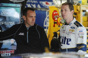 Team Penske crew chief Paul Wolfe (left) and driver Brad Keselowski (photo courtesy of Getty Images for NASCAR)