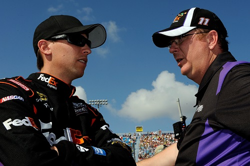 Mike Ford (right) with Denny Hamlin in 2010 (photo courtesy of Getty Images for NASCAR)