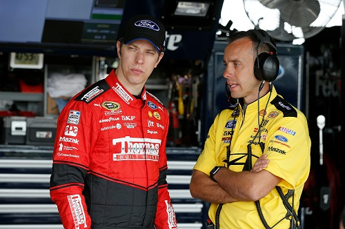 Paul Wolfe (right) with driver Brad Keselowski (photo courtesy of Getty Images for NASCAR)