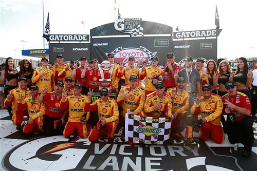 Team Penske's No. 22 Monster Energy NASCAR Cup Series team celebrates winning the Toyota Owners 400 at Richmond International Raceway on April 30, 2017 (photo courtesy of Getty Images for NASCAR).