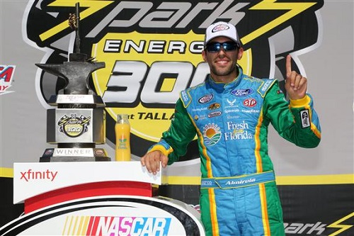 Aric Almirola with the Sparks Energy 300 winner's trophy at Talladega Superspeedway on May 6, 2017 (photo courtesy of Getty Images for NASCAR)