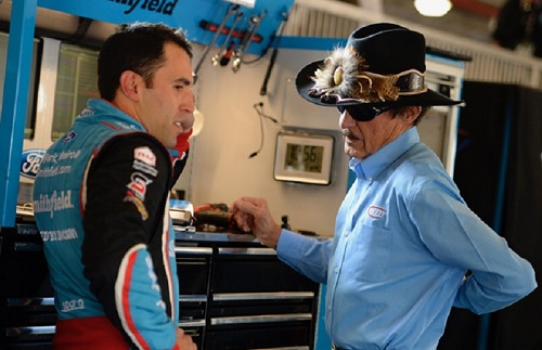 Driver Aric Almirola (left) and car owner Richard Petty (photo courtesy of Getty Images for NASCAR)
