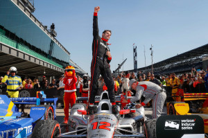 Will Power, driver of the #12 Verizon Team Penske Chevrolet IndyCar V6, celebrates his victory Saturday, May 13, 2017, after winning  the Verizon IndyCar Series Grand Prix at the Indianapolis Motor Speedway Road Course in Indianapolis, Indiana. (Photo by Michael L. Levitt/LAT for Chevy Racing)