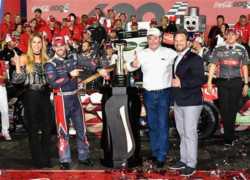 Austin Dillon, car owner Richard Childress and other members of the No. 3 Richard Childress Racing team after winning the Coca-Cola 600 at Charlotte Motor Speedway on May 28, 2017 (photo courtesy of Getty Images for NASCAR).