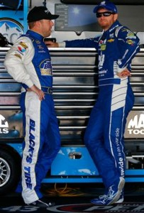 Regan Smith (left) and Dale Earnhardt Jr. in the garage at Dover International Speedway on June 2, 2017 (photo courtesy of Getty Images for NASCAR).