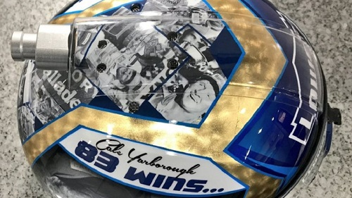 Jimmie Johnson's helmet for the June 4, 2017, running of the AAA 400 at Dover International Speedway (photo courtesy of Jimmie Johnson via Twitter)