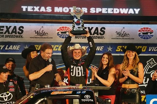 Christopher Bell celebrates in victory lane at Texas Motor Speedway after winning the WinStarOnlineGaming.com 400 on June 9, 2017 (photo courtesy of Getty Images for NASCAR).