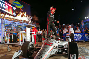 Will Power, driver of the #12 Verizon Team Penske IndyCar Chevrolet V6, celebrates his victory Saturday June 10, 2017, after winning Saturday's Verizon IndyCar Series race at Texas Motor Speedway in Fort Worth, Texas. (Photo by Phillip Abbott/LAT for Chevy Racing)