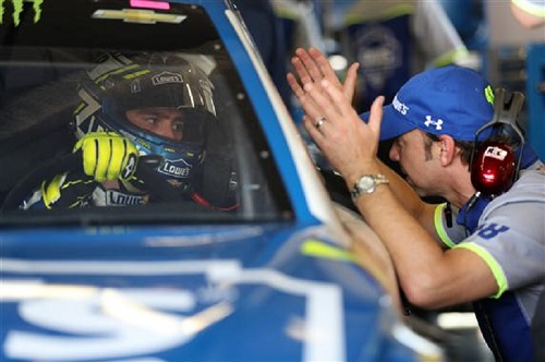 Jimmie Johnson and crew chief Chad Knaus (photo courtesy of Getty Images for NASCAR)
