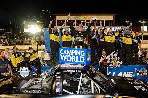 John Hunter Nemechek celebrates at Gateway Motorsports Park after winning the Drivin' for Linemen 200 on June 17, 2017 (photo courtesy of Getty Images for NASCAR).