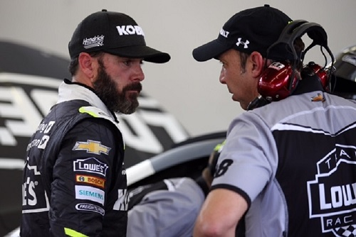 Chad Knaus (right) with driver Jimmie Johnson (photo courtesy of Getty Images for NASCAR)