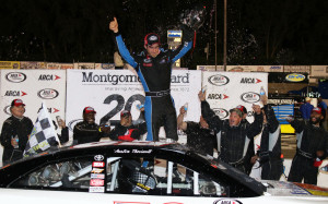 Austin Theriault celebrates in victory lane at Madison Park International Speedway on June 23, 2017 (photo courtesy of ARCA Racing Series).
