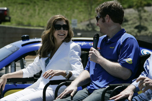 Teresa Earnhardt and Dale Earnhardt Jr. in 2010 (photo courtesy of Getty Images for NASCAR)