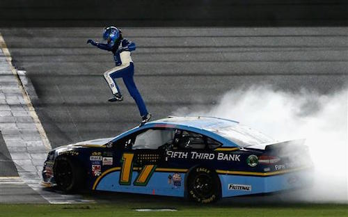 Ricky Stenhouse Jr. celebrates his win in the Coke Zero 400 at Daytona International Speedway on July 1, 2017 (photo courtesy of Getty Images for NASCAR).