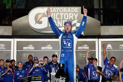 Ricky Stenhouse Jr. celebrates in victory lane at Daytona International Speedway after winning the Coke Zero 400 on July 1, 2017 (photo courtesy of Getty Images for NASCAR).