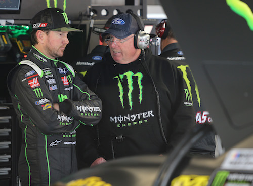 Crew chief Tony Gibson (right) with driver Kurt Busch of the No. 41 Stewart-Haas Racing team (photo courtesy of Getty Images for NASCAR)