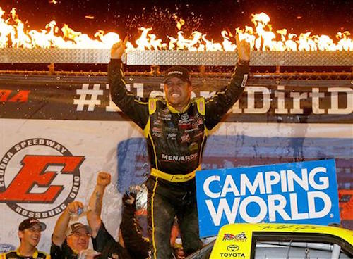 Matt Crafton celebrates in victory lane at Eldora Speedway in July 19, 2017, after winning the Eldora Dirt Derby (photo courtesy of Getty Images for NASCAR).