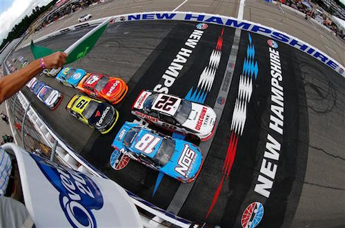 Kyle Busch (18), Brad Keselowsk (22) and Kyle Larson (42) occupy three of the top-four starting positions for the Overton's 200 NASCAR Xfinity Series race at New Hampshire Motor Speedway on July 15, 2017 (photo courtesy of Getty Images for NASCAR).