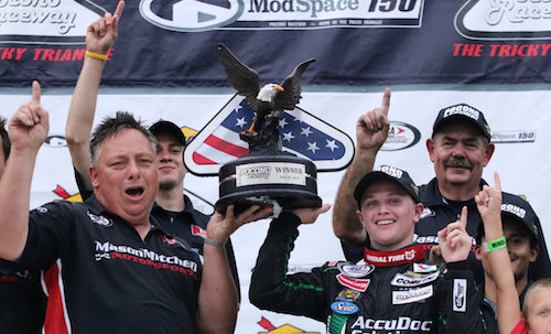 Justin Haley celebrates his win of the ModSpace 150 at Pocono Raceway on July 28, 2017 (photo courtesy of the ARCA Racing Series).