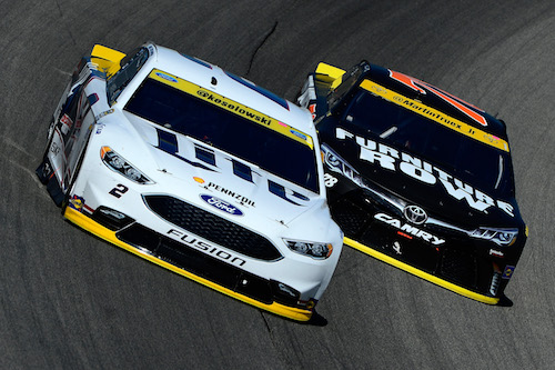 The No. 2 Team Penske Ford of Brad Keselowski and the No. 78 Furniture Row Racing Toyota of Martin Truex Jr. in the first race of the 2016 Chase for the Sprint Cup at Chicagoland Speedway in September 2016 (photo courtesy of Getty Images for NASCAR).