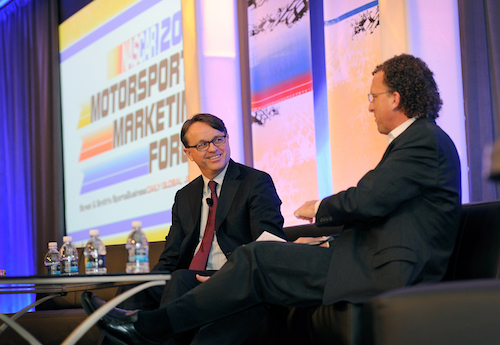 NASCAR President Brent Dewar during the 2015 Motorsports Marketing Forum (photo courtesy of Getty Images for NASCAR)