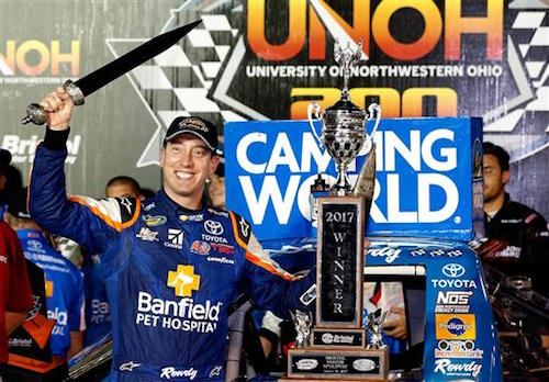 Kyle Busch celebrates in victory lane at Bristol Motor Speedway after winning the UNOH 200 on Aug. 16, 2017 (photo courtesy of Getty Images for NASCAR).
