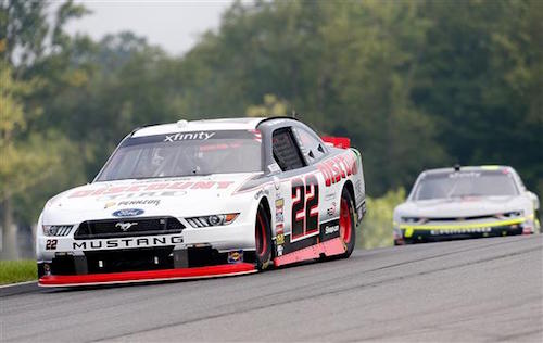 Sam Hornish Jr. leads the way in the Mid-Ohio Challenge at Mid-Ohio Sports Car Course on Aug. 12, 2017 (photo courtesy of Getty Images for NASCAR)