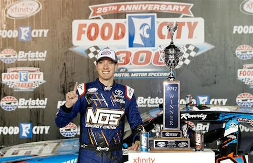 Kyle Busch in victory lane at Bristol Motor Speedway after winning the Food City 300 on Aug. 18, 2017 (photo courtesy of Getty Images for NASCAR).