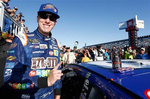 Kyle Busch celebrates his win of the Overton's 400 at Pocono Raceway on July 30, 2017 (photo courtesy of Getty Images for NASCAR).