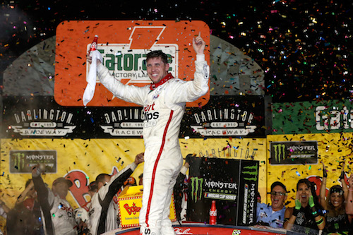 Denny Hamlin celebrates in victory lane at Darlington Raceway after winning the Bojangles' Southern 500 on Sept. 3, 2017 (photo courtesy of Getty Images for NASCAR).