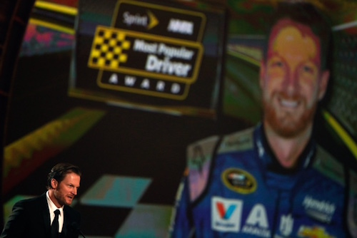 Dale Earnhardt Jr. accepts his 2018 NMPA Most Popular Driver Award in Las Vegas (photo courtesy of Getty Images for NASCAR).