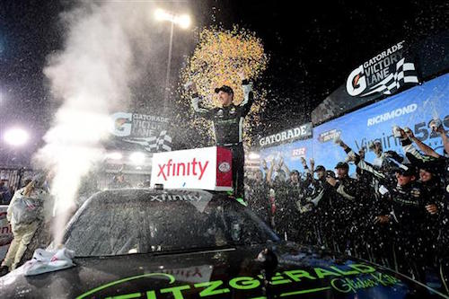 Brad Keselowski celebrates in victory lane at Richmond Raceway after winning the Virgina529 College Savings 250 on Sept. 8, 2017 (photo courtesy of Getty Images for NASCAR).