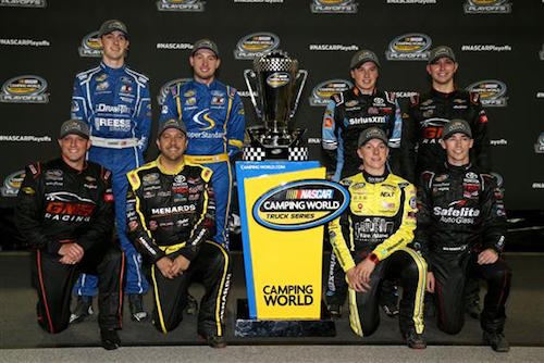 The eight 2017 NASCAR Camping World Truck Series playoff participants (photo courtesy of Getty Images for NASCAR)