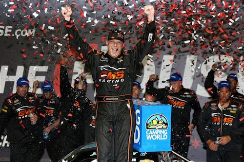 Johnny Sauter celebrates in victory lane at Chicagoland Speedway after winning TheHouse.com 225 on Sept. 15, 2017 (photo courtesy of Getty Images for NASCAR).