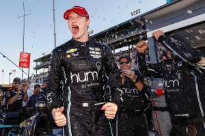 Josef Newgarden, driver of the #2 hum by Verizon Team Penske IndyCar Chevrolet V6, celebrates winning the 2017 Verizon IndyCar Series Championship with a second place finish Sunday, September 17, 2017 during the GoPro Grand Prix of Sonoma at Sonoma Raceway in Sonoma, California. Newgarden edged out teammate and 2016 Champion Simon Pagenaud, driver of the #1 DXC Technology Team Penske IndyCar Chevrolet V6, who won the race. (Photo by Michael L. Levitt/LAT for Chevy Racing)