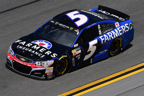 The No. 5 Hendrick Motorsports Chevrolet of Kasey Kahne, sponsored by Farmers Insurance (photo courtesy of Getty Images for NASCAR)