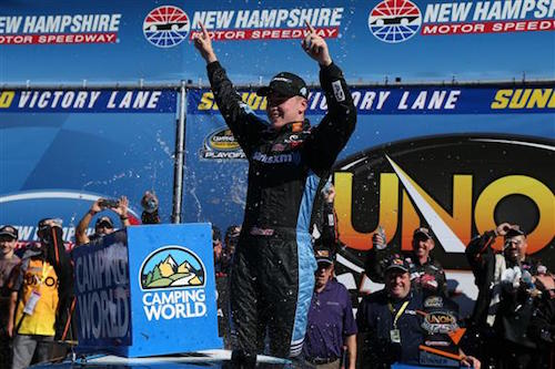 Christopher Bell celebrates in victory lane at New Hampshire Motor Speedway after winning the UNOH 175 on Sept. 23, 2017 (photo courtesy of Getty Images for NASCAR).